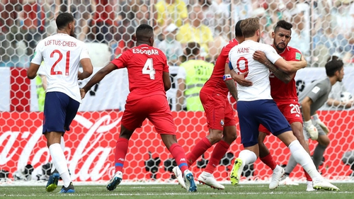 Harry Kane of England is bought down in the area by Anibal Godoy of Panama