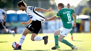 Dundalk's Krisztian Adorjan and Conor McCormack battle for possession
