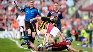 Galway's Johnny Coen tangles with Conor Fogarty of Kilkenny in their Leinster round-robin clash