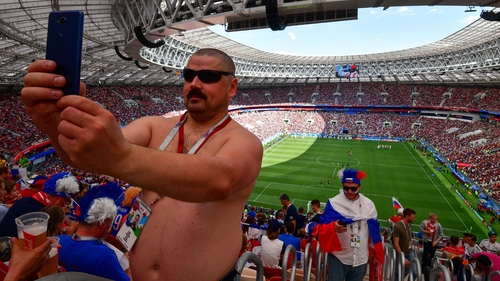 A Russian fan got a quick selfie in before the action began