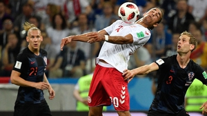 Yussuf Poulsen performed admirably as a target man up front for Denmark