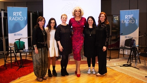 Panti Bliss with her guests Karan Casey, Eva O'Connor, Samantha Long, Linda Connolly and Ciara Sidine