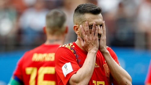 Jordi Alba reacts during the World Cup penalty shoot-out defeat to Russia