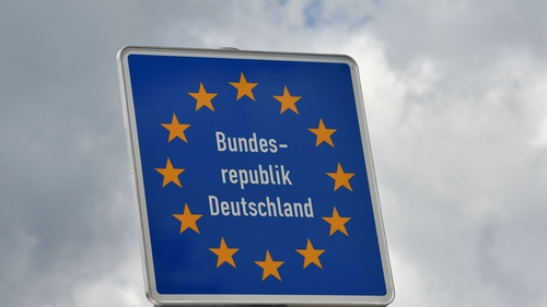 A sign at the border between Austria and Germany near the Bavarian village of Kiefersfelden
