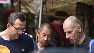 British divers John Volanthen and Richard William Stanton at the site in Thailand