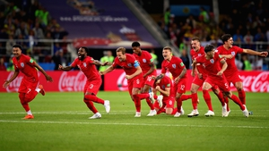 England celebrate the winning penalty