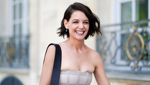 Katie Holmes at the Dior show during Paris Fashion Week on Monday