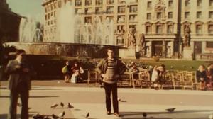 Paddy Kehoe in Plaça de Catalunya in the centre of Barcelona circa 1981/1982