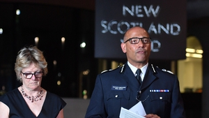 The UK's head of counter-terrorism policing Neil Basu and chief medical officer for England Sally Davies speaking at a news conference in London