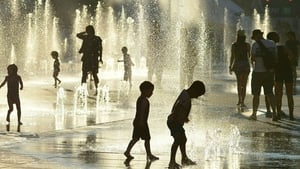 Children playing in a fountain in Montreal as temperatures soar