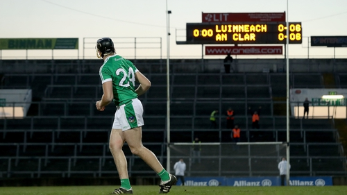 Limerick's Colin Ryan hits the winner in their free-taking competition with Clare in the League
