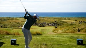 McIlroy drives to the 13th hole in Ballyliffin