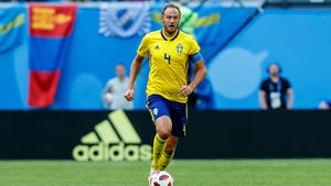 Granqvist on the ball in Russia against Switzerland