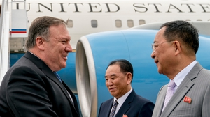 US Secretary of State Mike Pompeo is greeted by Kim Yong Chol in Pyongyang