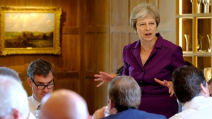 British Prime Minister Theresa May addressing senior ministers at Chequers