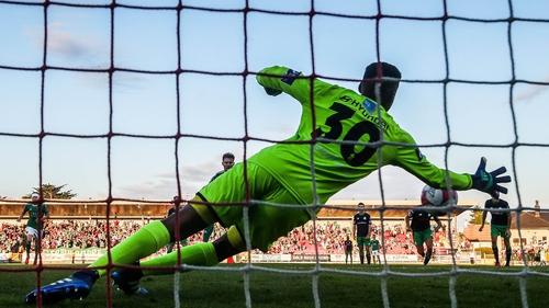 Gavin Bazunu saves Kieran Sadlier's penalty