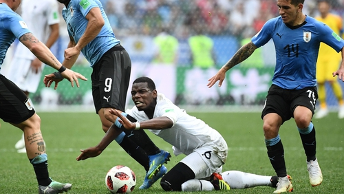 Paul Pogba struggled to influence proceedings against Uruguay but France still eased to a 2-0 victory