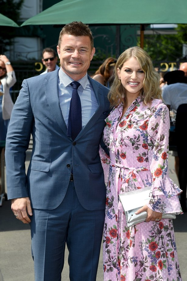 Brian O'Driscoll and wife Amy Huberman attend day five of the Wimbledon
