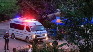 An ambulance transports the sixth and seventh boys rescued from Tham Luang cave to hospital
