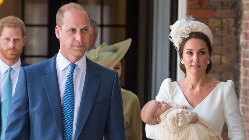 Prince William and Kate Middleton bring Prince Louis to the chapel for his christening, followed by Prince Harry and Meghan Markle