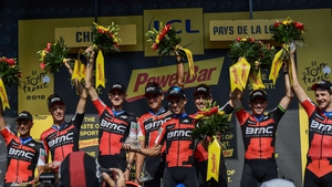 USA's BMC Racing team celebrate on the podium