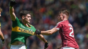 Kerry's Paul Geaney and Galway defender Eoghan Kerin pictured during last year's All-Ireland quarter-final