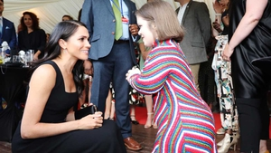 The Duchess meets some of the guests at the garden party