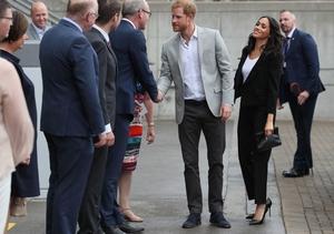 The couple meet Tánaiste Simon Coveney ahead of a tour of the Croke Park museum