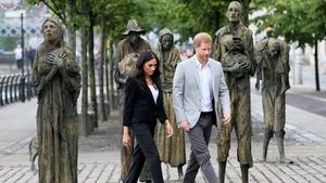 The duke and duchess visit the Famine memorial statues in Dublin