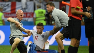 England finished with 10 men as an injured Kieran Trippier could not continue