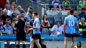 John Small is sent off by referee Barry Cassidy in the Leinster final