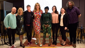Pantisocracy: (L to R) Conleth Kane, Fiona Mulcahy, Shaun Dunne, Panti Bliss, Ellie Kisyombe, Iseult Ward, Grainne & David Hope