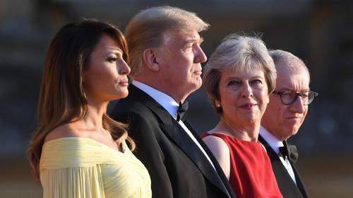 Donald and Melania Trump arrive at Blenheim Palace