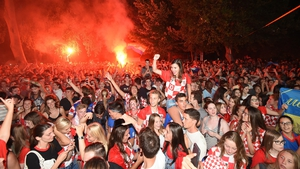 Croatia fans in Split celebrate after beating England and advancing to their first ever World Cup final. Photo: Anadolu Agency/Getty Images
