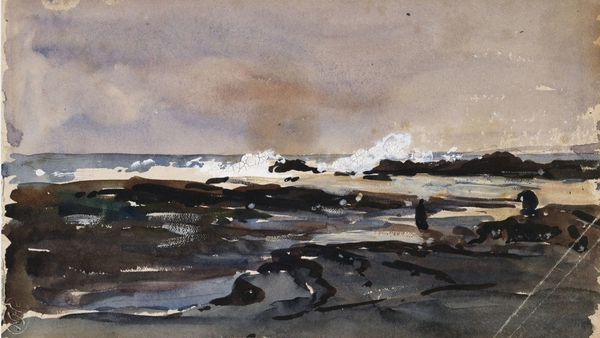 Nathaniel Hone the Younger, Waves Breaking on the Rock's Kilkee (c1890)