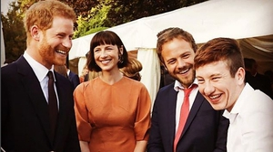 Britain's Prince Harry, Caitriona Balfe, Moe Dunford and Barry Keoghan at the summer garden party in the British Ambassador to Ireland's residence at Glencairn Photo: Kensington Palace, Twitter