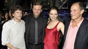 Jesse Eisenberg, director Ruben Fleischer, Emma Stone and Woody Harrelson at the premiere of Zombieland in Los Angeles in September 2009