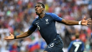 Paul Pogba celebrates his goal in the World Cup final