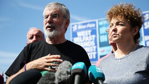 Gerry Adams speaking in Belfast following the attack on his home