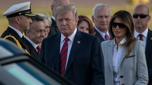Donald Trump and US First Lady Melania Trump arriving in Helsinki