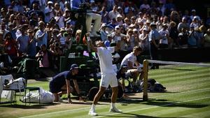 The Wimbledon champion celebrates his win