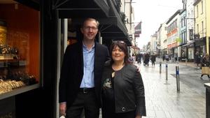 Brenda with Kieran McCarthy on Oliver Plunkett Street