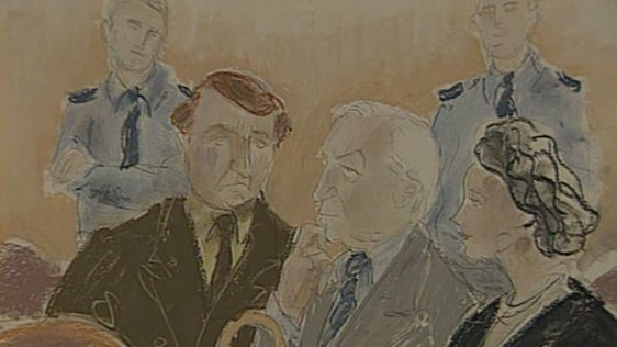 Court artist's sketch of Charles and Ciarán Haughey, and solicitor, Dublin District Court (1998)