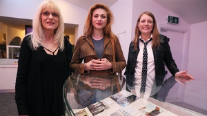 Kurt Cobain's mother Wendy, daughter Frances Bean and sister Kim at the exhibition on the life of the Nirvana frontman at the museum of Style Icons in Newbridge