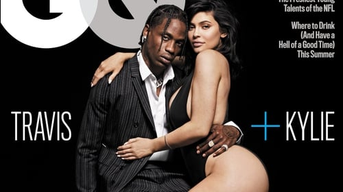 Travis Scott and Kylie Jenner on the front cover of GQ magazine