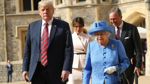 Queen Elizabeth II and Donald Trump inspecting an honour guard at Windsor Castle