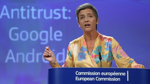 EU Competition Commissioner Margrethe Vestager ordered Google to halt anti-competitive practices in contractual deals with smartphone makers and telecoms providers within 90 days