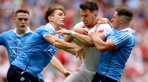 Dublin's Brian Fenton, Michael Fitzsimons and Philip McMahon tackle Matthew Donnelly of Tyrone in last year's all-Ireland semi