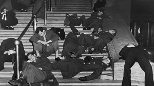 Revellers recovering from their over-indulgence on the steps of Grand Central Station, New York, in 1940. Photo: FPG/Hulton Archive/Getty Images