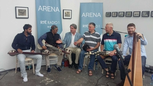 Wajahat Khan & Peadar O'Riada and musicians with Arena's Seán Rocks (third from left).
